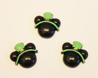 SALE! Mickey St Patrick's Day 3 Pieces Cabochons Resin / Embellishments / Scrapbooking / Hair Bows / Parties