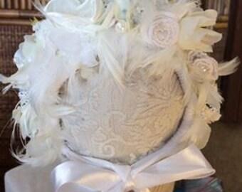 Newborn baby Feather  flower bonnet photo  props    Newborn photo props photography  girl christening wedding