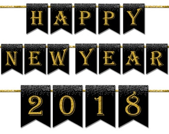 Happy New Year 2018 Banner Printable, Photo Prop Banner, New Years Eve Party Decorations, New Years Eve Banner, Gatsby Party Decor - DP419