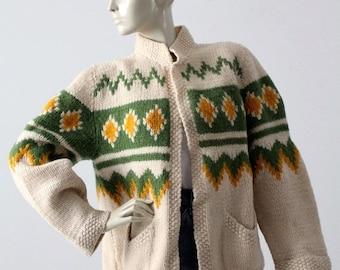SALE vintage chunky knit cardigan, fair isle style open sweater