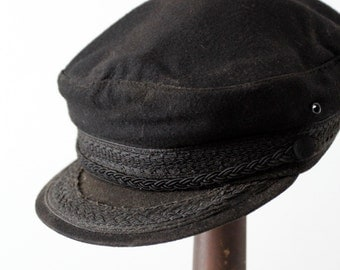 vintage fisherman's cap, black wool mariners hat