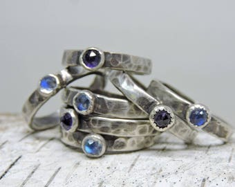 Hammered Stacking Ring, Sterling, Rainbow Moonstone, Amethyst, Solitaire Ring, Gift Ring, Rose Cut Gemstone Ring, Purple, Blue, Made in NH