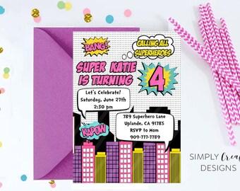 SALE Superhero Invitation Girl Super hero Invite Printable Digital