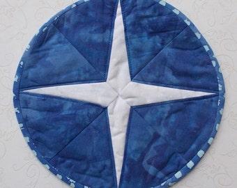 Hand Dyed Batik Blue & White Petite Wall Hanging