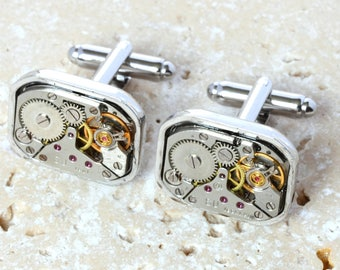 watch movement cufflinks, Steampunk gifts, watchpart cufflinks, watch part cufflinks, Steampunk Cufflinks, Watch cufflinks, Steam Punk