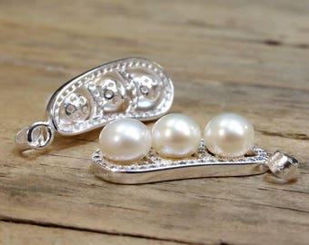 High Quality Freshwater Pearl .925 Sterling Silver Pendant 1 Inch long Made in THAILAND (G1806NY1195)