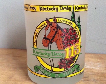 Vintage Kentucky Derby 1987 Frosted Tumbler Unique Twin Spires Run for the Roses 113th running