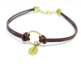 Leaf Brown Leather Gold Bracelet