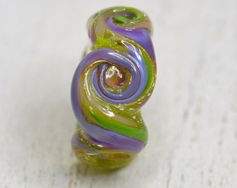 dread lock lamp work bead organic OOAK...dread bead....XTRA large hole style glass , SRA handmade 22317-15