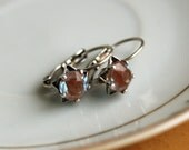 Cute Chubby Saphiret Star Earrings - Very Old  Rescued Chubby Glass Saphiret