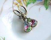 Rainbow Tears - Pretty Old Rhinestone Drop Dangle Earrings - Spring Jewelry
