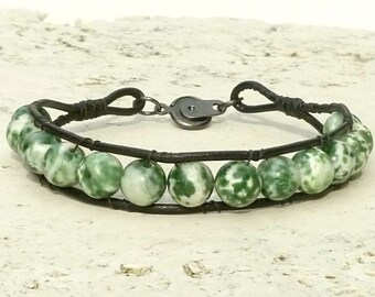 """Green Jasper Bracelet - Men's Leather Bracelet   - Green & White Round Bead Gemstone for Men or Women 8"""""""