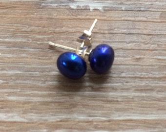 Royal Blue Pearl Studs 7-8mm coloured earrings sterling silver uk made