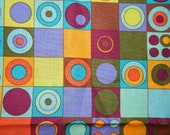 cotton quilt fabric Eyes Wise abstract print 12 in X 44 in check circle square blue purple aqua teal orange yellow lime green Free Spirit