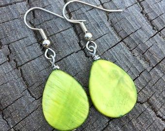 Green Mother of Pearl Teardrops . Earrings
