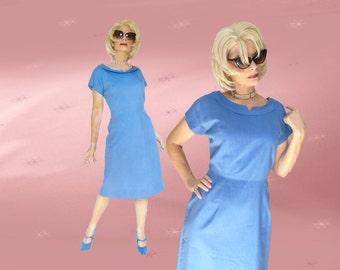 "Plus Size 1950s Vintage Silk Dress - Classic Blue Sheath - 46"" Bust"