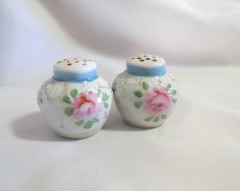 Vintage Porcelain Floral Salt and Pepper Shakers English Rose