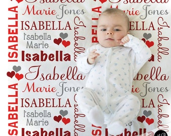 Valentine Hearts Name Blanket Baby Girl in red and gray, personalized baby gift, blanket, baby blanket, personalized blanket, choose colors