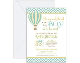 Boys Baby Shower Hot Air Balloon Invitation, up up and away, chevron baby shower invitation, brown, green, orange(FREE ENVELOPES)