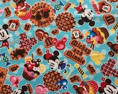 Half yard Disney fabric Mickey mouse with sweets printed blue colour fabric
