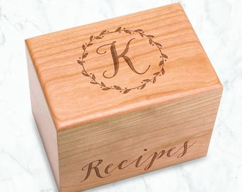 Wreath Recipe Box Engraved Initial, Made in USA Cherry Recipe Box, Wreath Monogrammed Box, Floral Circle Monogram, kitchen bridal shower