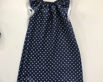 Navy + White Polka dot dress