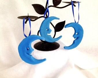 Handmade Blue Moon Non-Edible Sugar Ornaments~Rustic Moon Decor~ Unique Moon Centerpiece Decoration~Woodland Moon Decor~ Astrological Decor