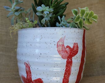 Wheel thrown planter or utensil holder, speckled stoneware