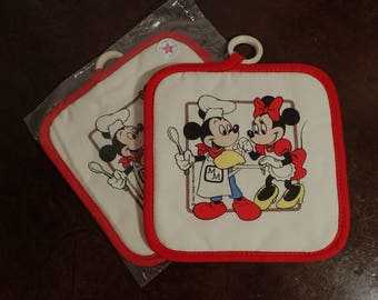 1980's Pair of Walt Disney Productions Pot Holders,  Mickey Mouse Cooking with Minnie , Pair of Collectible Potholders