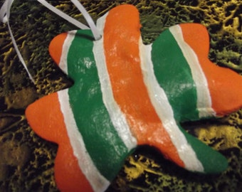 hand made bread dough - or salt dough IRISH Shamrock Christmas ornament - Colors of the Irish Flag