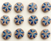 24 Antique French Hand Painted Blue Wooden Buttons