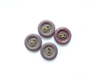 4 Lilac Buttons, Purple, Gold, Vintage Buttons