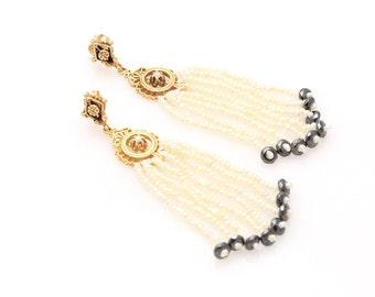 Stunning Seed Pearl & Diamond Victorian Tassel Earrings