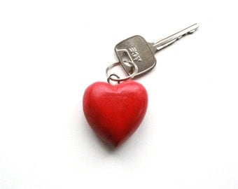 Chunky Red Heart keychain . Wooden keychain . heart key chain . heart keyring . heart key ring . wooden heart keychain . red wooden heart