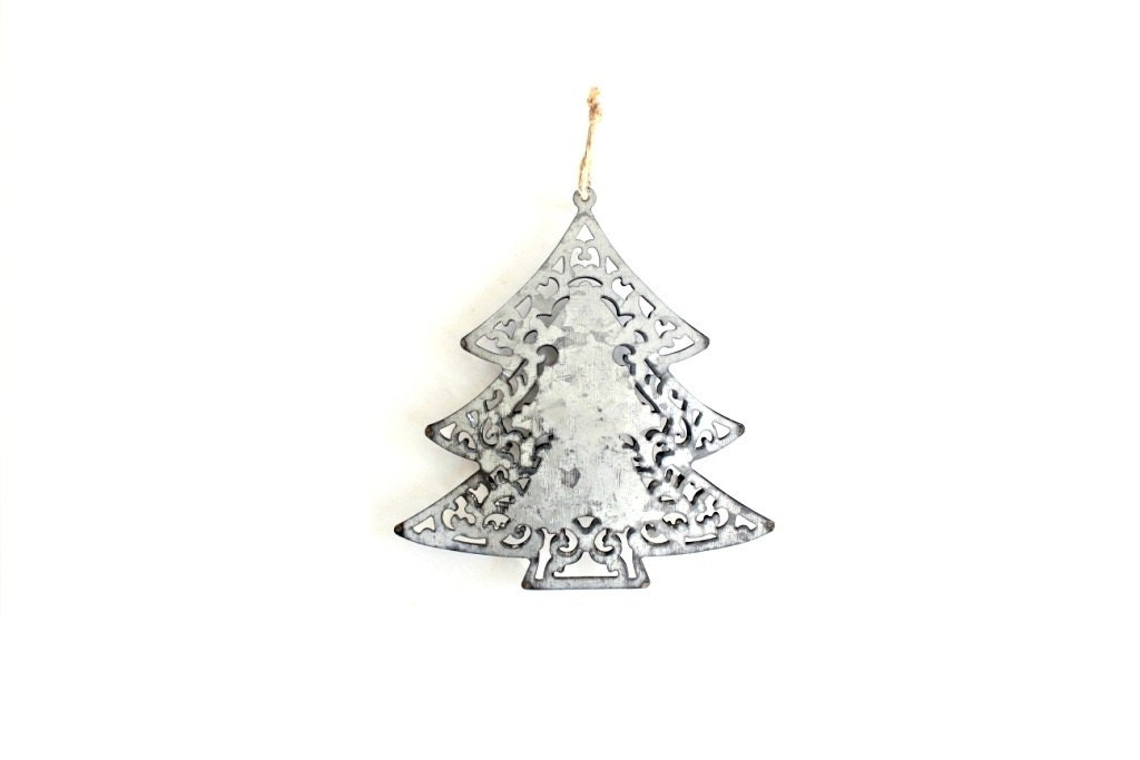 Metal christmas tree ornament tin ornaments galvanized