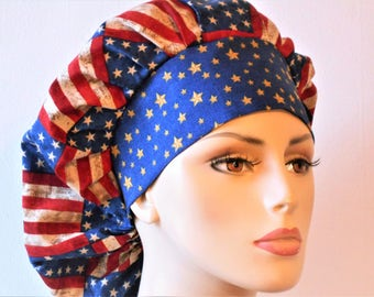 Scrub Hats Bouffant Medical Scrub Hat - Patriotic Red White and Blue Flags with a Blue Star Headband Memorial Day 4th of July Labor Day