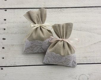 Favor bags, linen and lace gift bags, gift bags