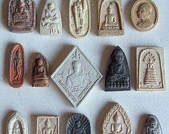 15 Thai Buddhist Buddha Buddhism Clay Amulet Tablets