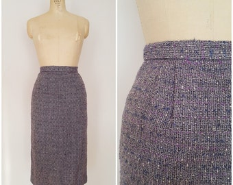 Vintage 1950s Pencil Skirt / Purple Wool / Wool Pencil Skirt / XS