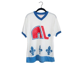 Vintage Quebec Nordiques 100% Nylon Sandow Sporting Knit White Blank Jersey Shirt, Made in Canada - Medium
