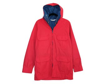 Vintage Woolrich Woman Bright Red & Blue All Cotton Lightweight Nylon Lined Hooded Parka, Made in USA