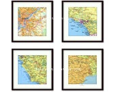 Personalized Map Prints, Anniversary Gift, Gifts for Him, Fathers Gift, Gift for Husband, Travel Map Gifts, set of 4 Map Art Prints