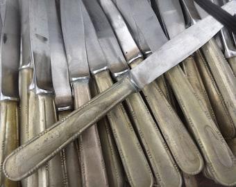 Vintage English Sheffield Made Unfinished Balastrade Medium Dinner Knife Cutlery Silverware PRICED INDIVIDUALLY c1960's / English Shop