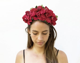 Red Flower Crown, Red Velvet Flower Crown, Red Rose Flower Crown, Rose Crown, Frida Kahlo, Day of the Dead, Mexican Headpiece, Boho