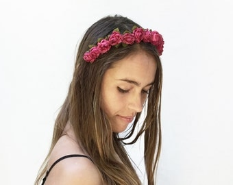 Raspberry Red Mini Rose Crown, Red Rose Flower Crown, Rose Headband, Small Rose Crown, Gift Idea, Rose Crown, Bohemain Fashion, Boho, Crown
