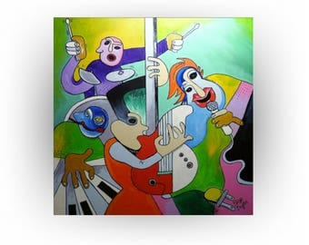 MADE TO ORDER - Abstract Music Band Painting - Picasso- like painting - Home Decor - Office Decor - Musician art - Skye Taylor
