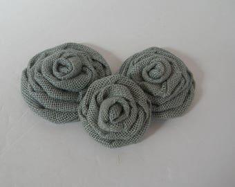 Blue Burlap Rosettes Flowers Embellishment Supplies Rustic Shabby Chic Wedding Decor Set of 3
