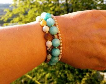 Amazonite stone beads bracelet set