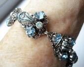 30's Czech Bracelet Aqua Glass Rhinestones