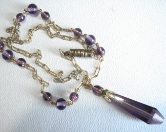 Art Deco Necklace Amethyst Glass Beads and Drop 1920's 1930's